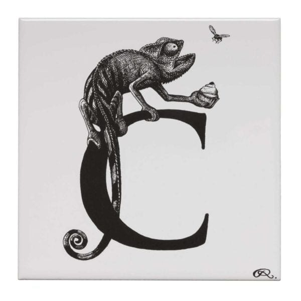 C - Cheeky Chameleon Clutching Cherry Cupcake Tile-0