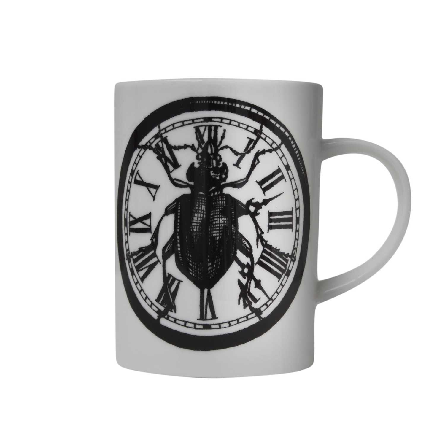 clock with the beetle in the middle ink design on white fine bone china mug