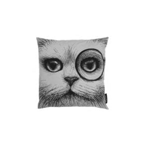 Cat Monocle/No Monocle Cushion White-0