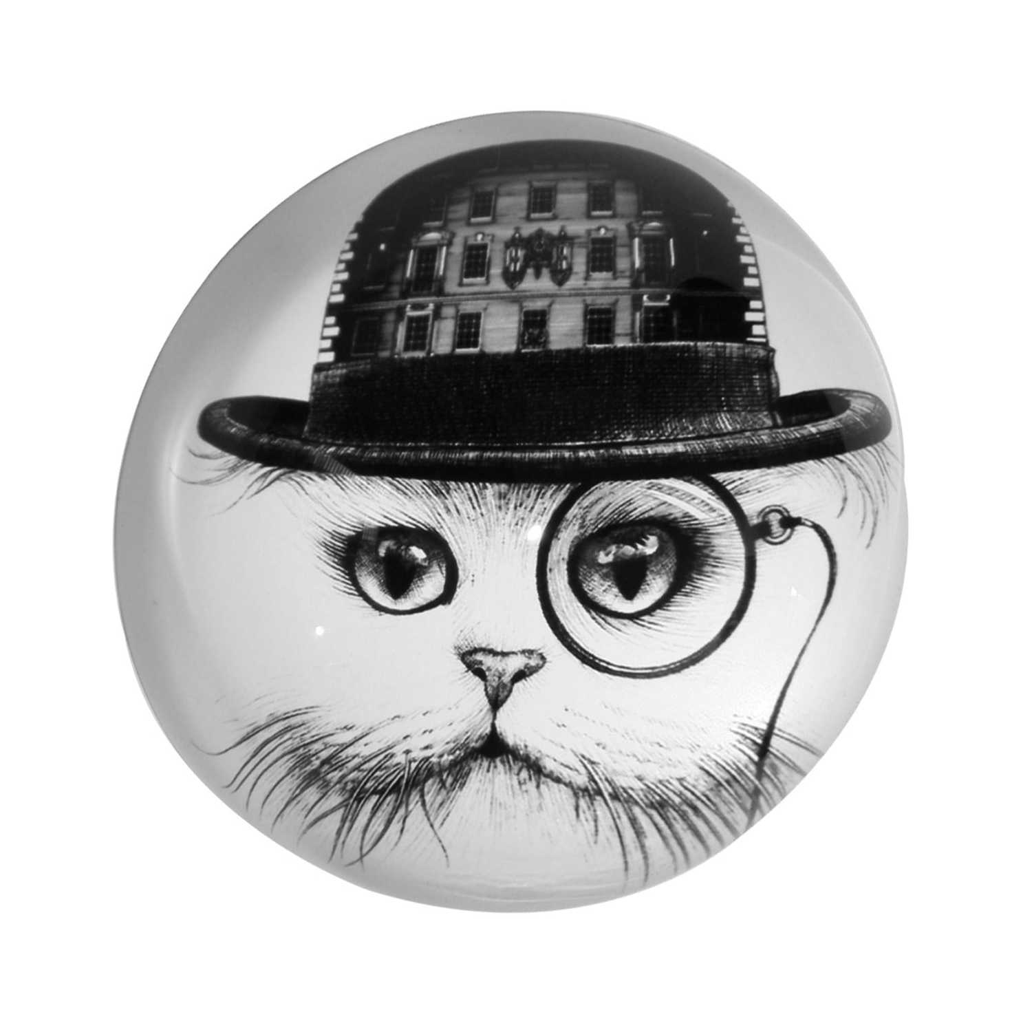F&M Cat Paperweight Domed -0