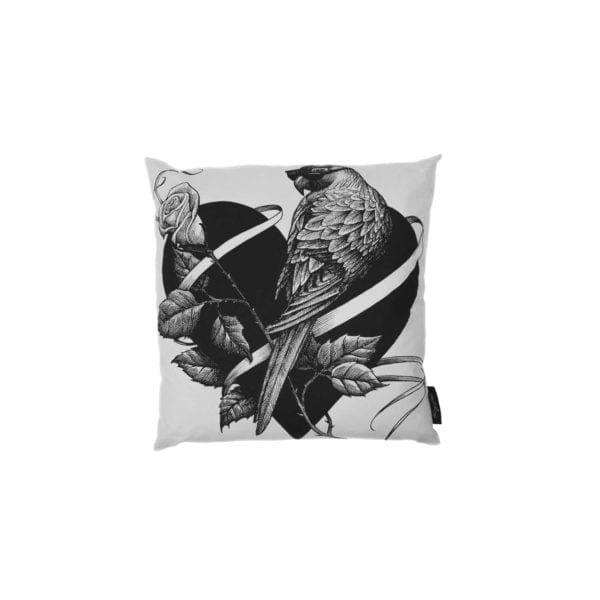 Lovebird/Question Mark Cushion White-0