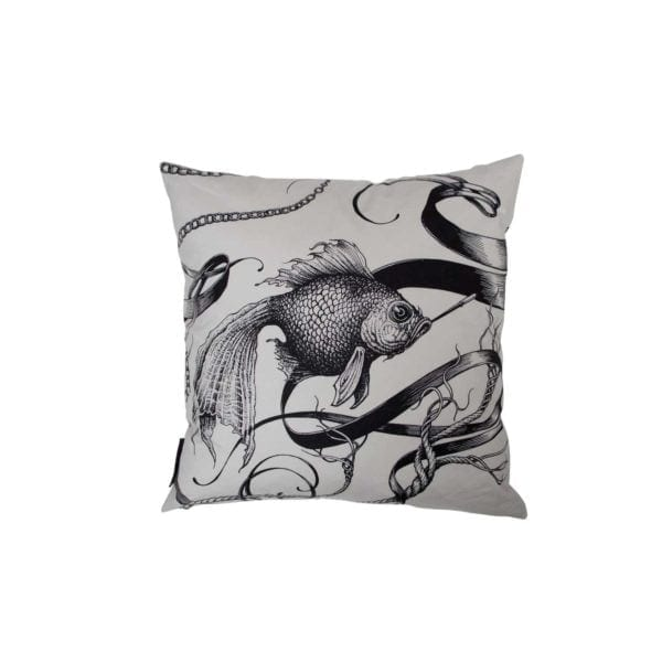 Masked Skull/Smokey Fish Cushion White-0