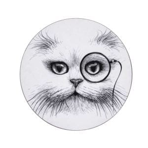 Cat Monocle Round Placemat (Set of 4)-0