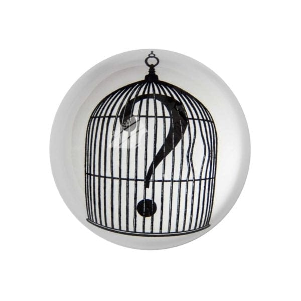 Question Mark Birdcage Paperweight Domed -0