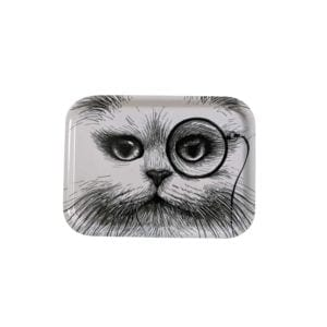 Small White Cat Monocle Tray-0