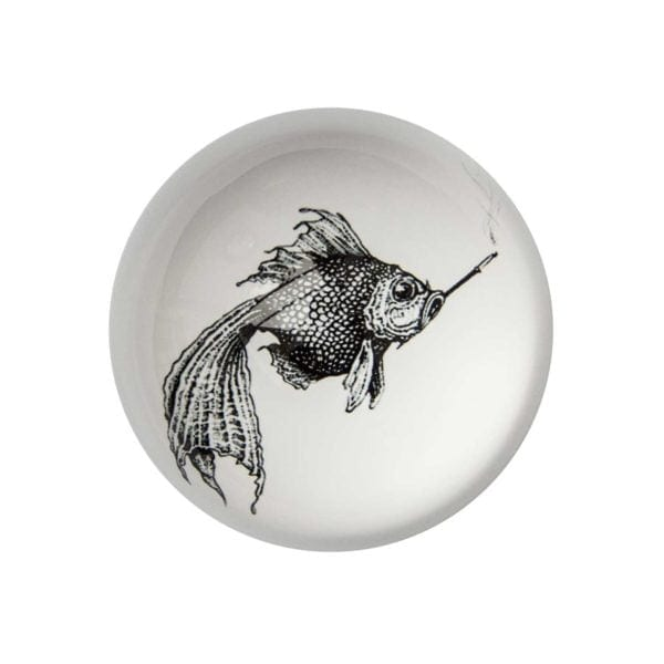 Smokey Fish Paperweight Domed -0