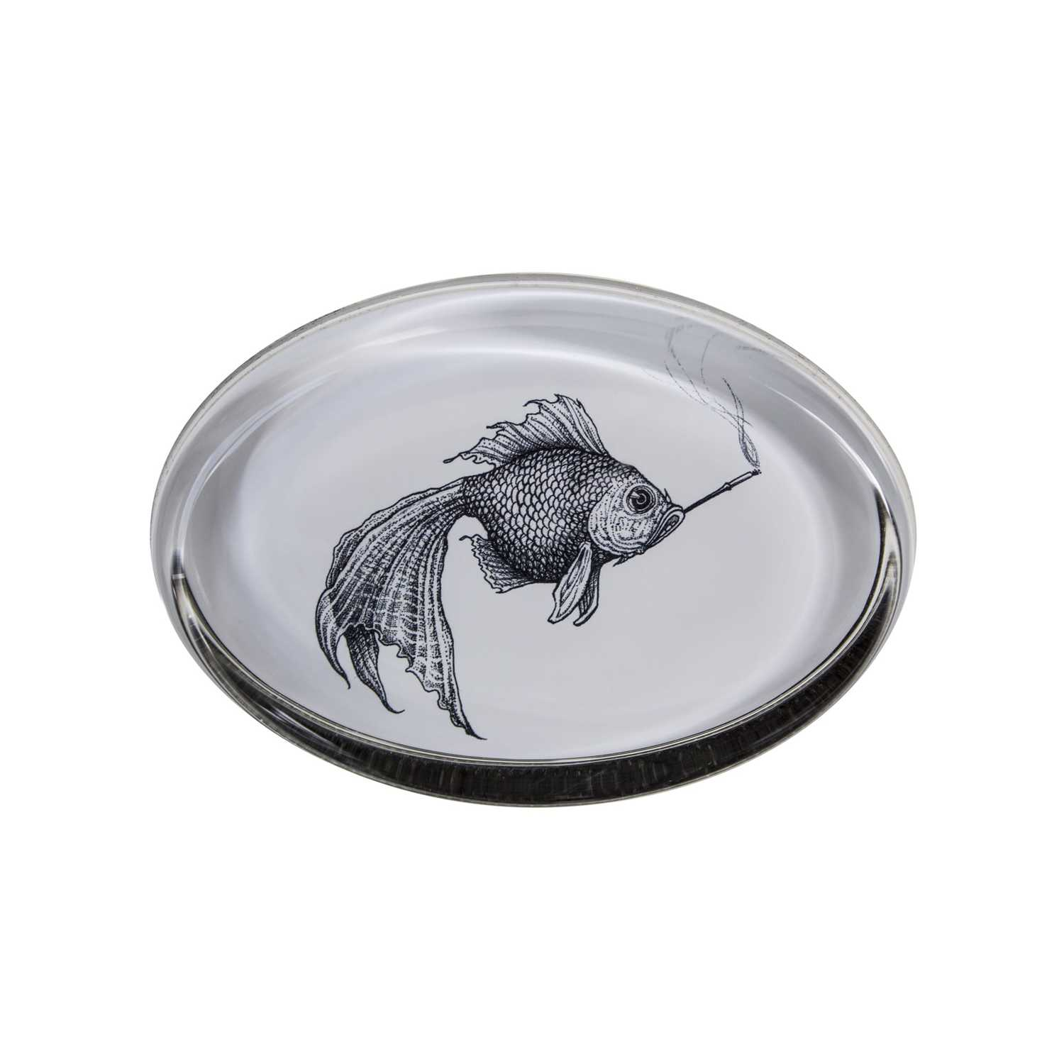 Smokey Fish Paperweight Oval -0