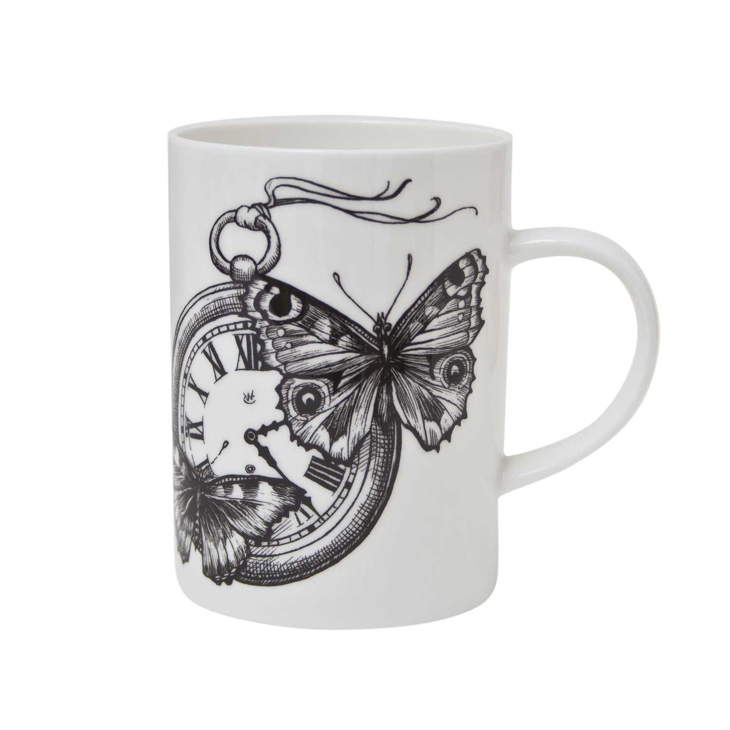 Clock with two butterflies ink design on white fine bone china mug