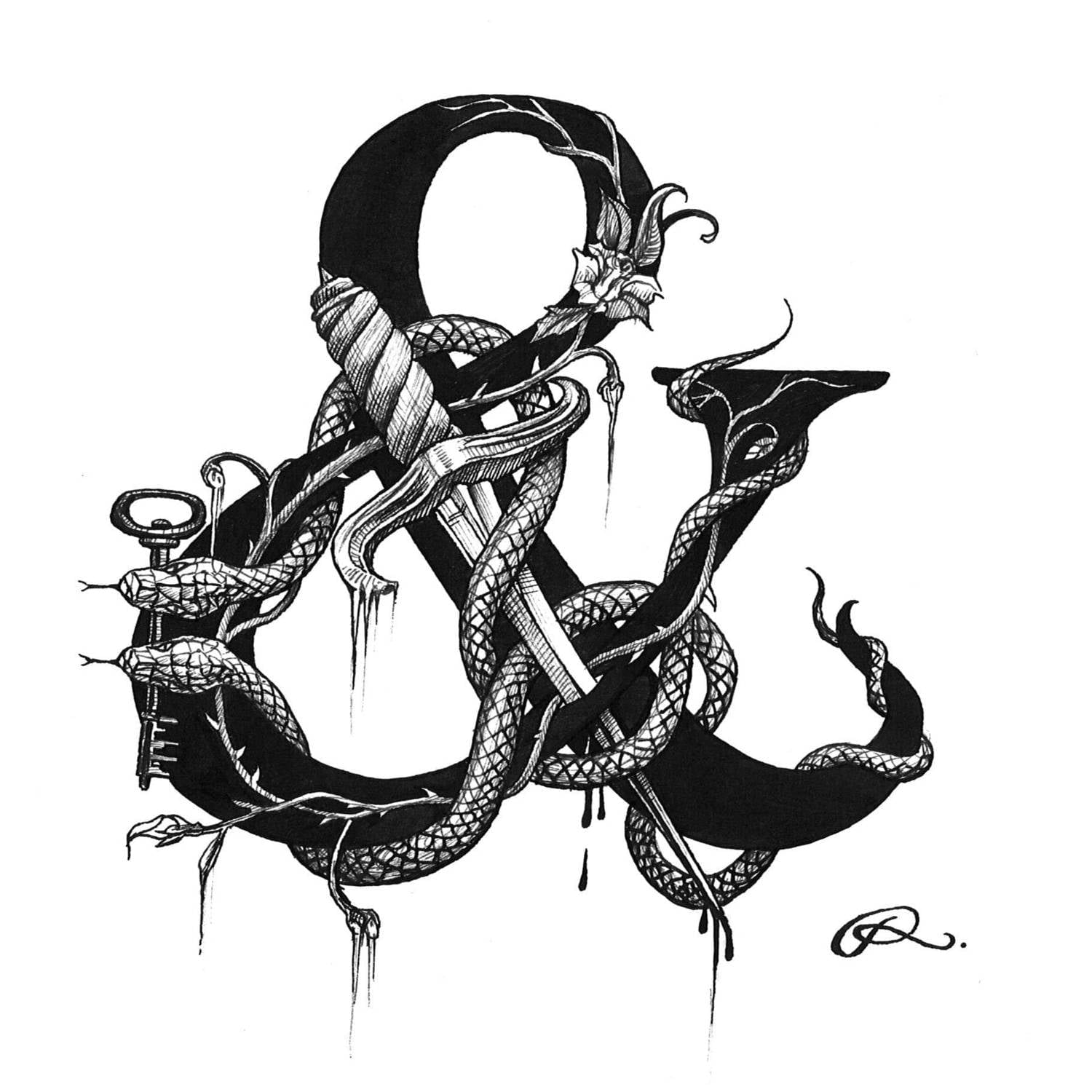& - Ampersand Intricate Ink Print-0