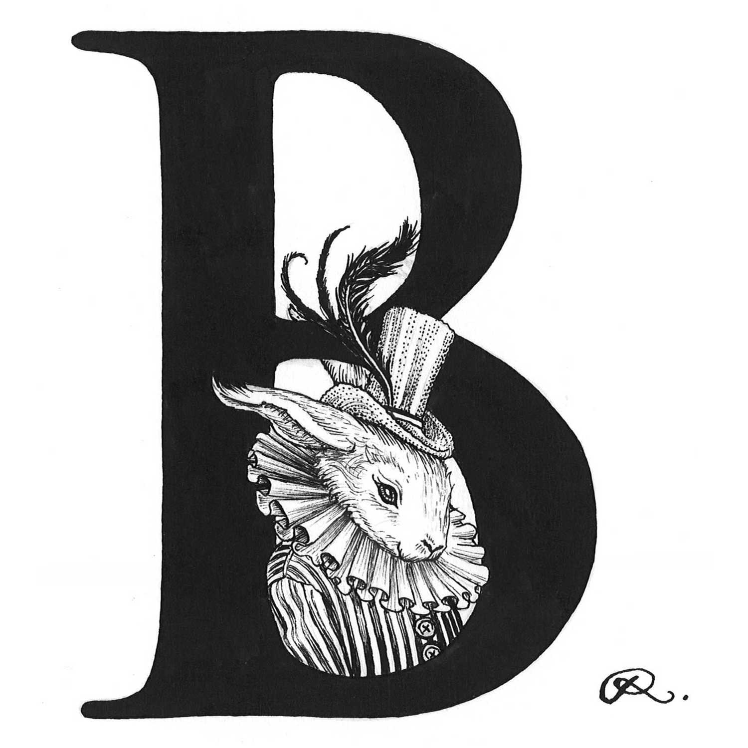 B - Bling Bunny Intricate Ink Print-0