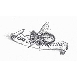 Bee My Valentine Intricate Ink Print-0