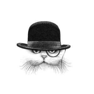Cat in Hat Down Intricate Ink Print-0