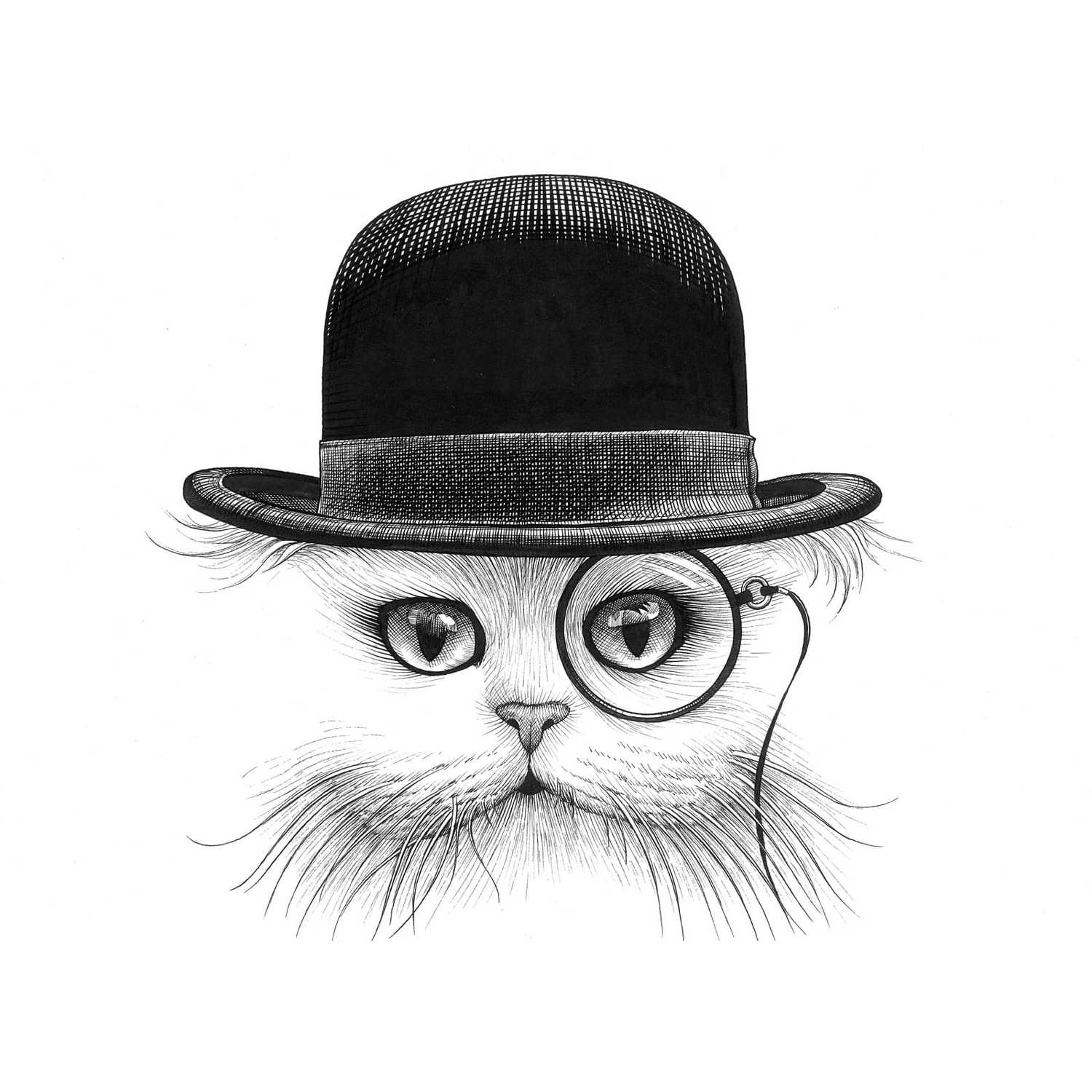Cat in Hat Intricate Ink Print-0