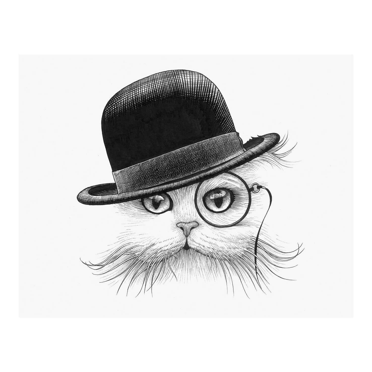 Cat in Hat Tilt Intricate Ink Print-0