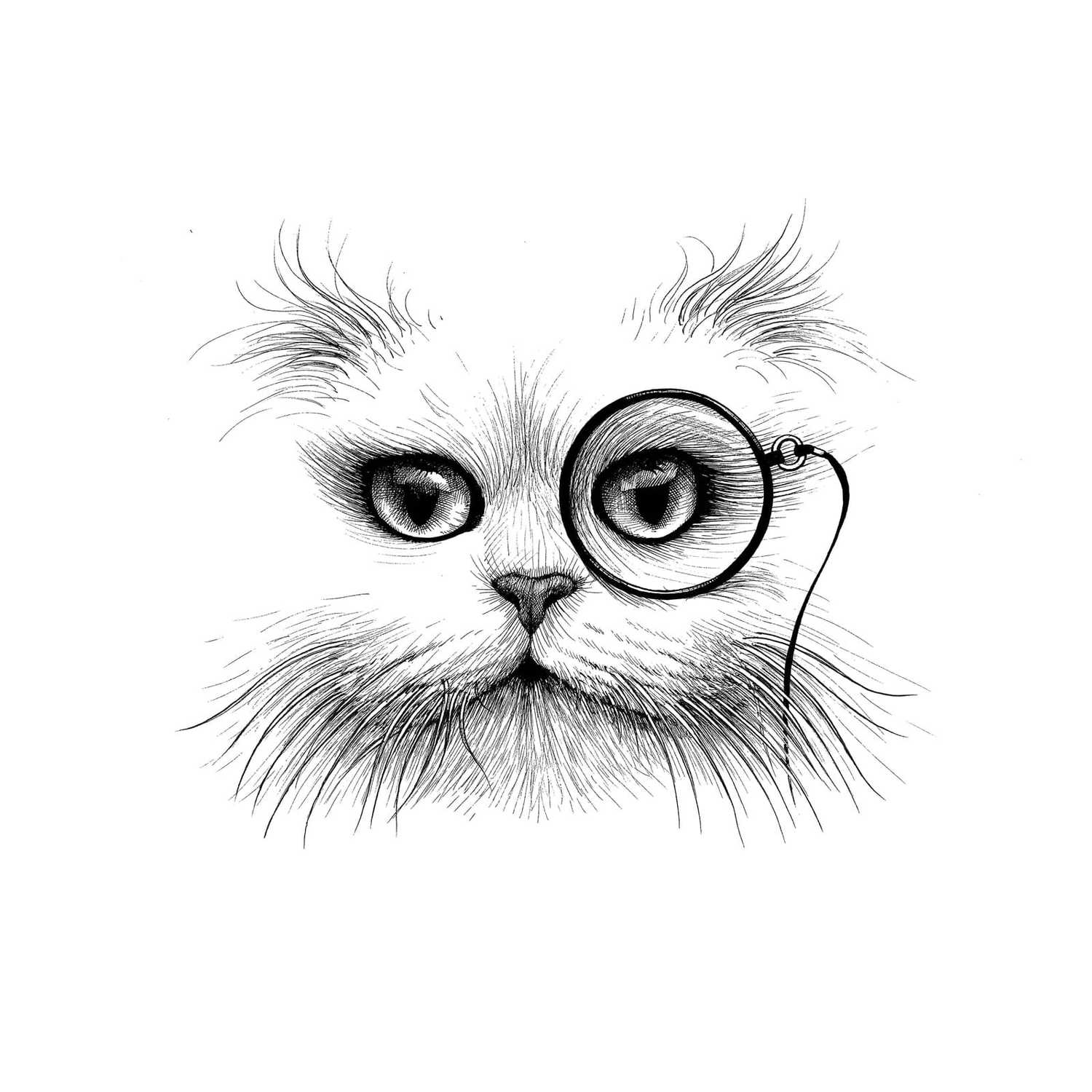 Cat Monocle Intricate Ink Print-0