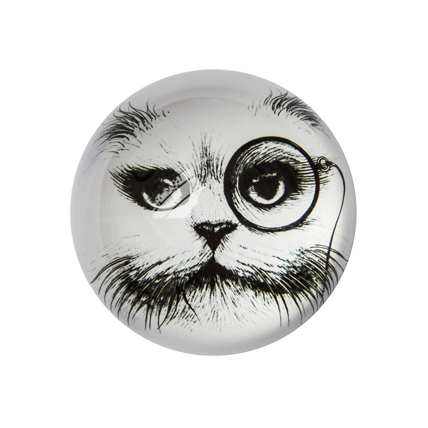 Cat Monocle Paperweight Domed -0
