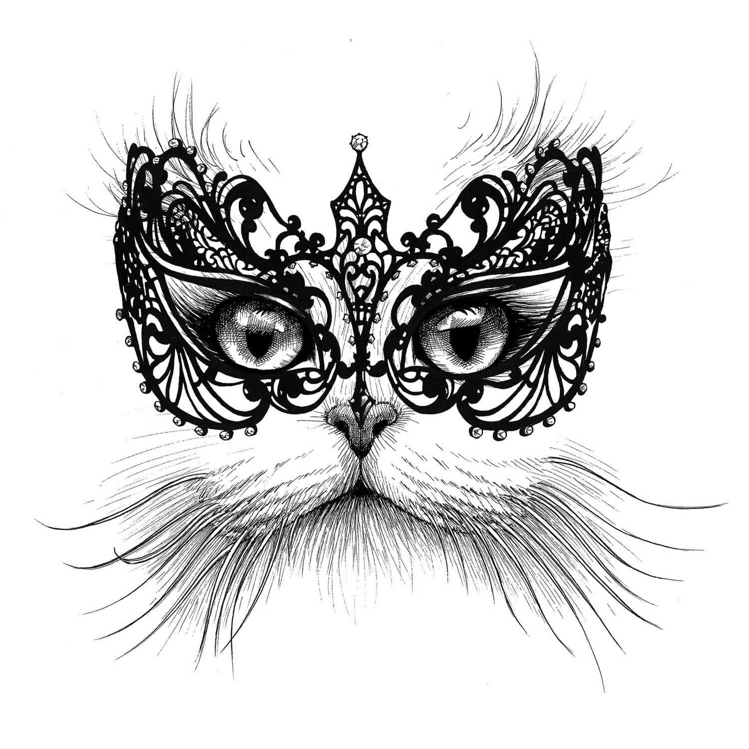 Masked Cat Intricate Ink Print-0