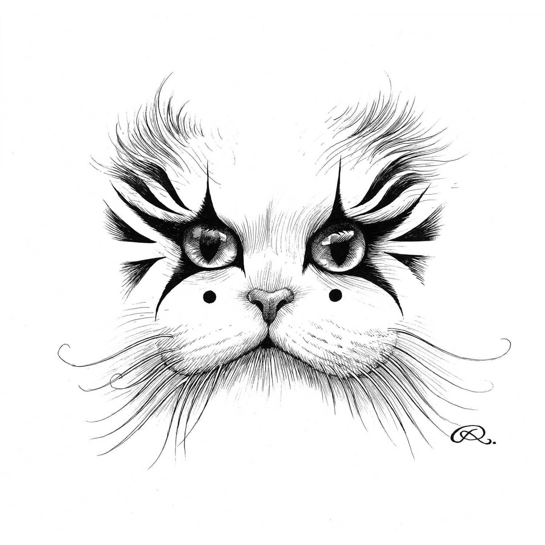 Clown Cat Intricate Ink Print-0