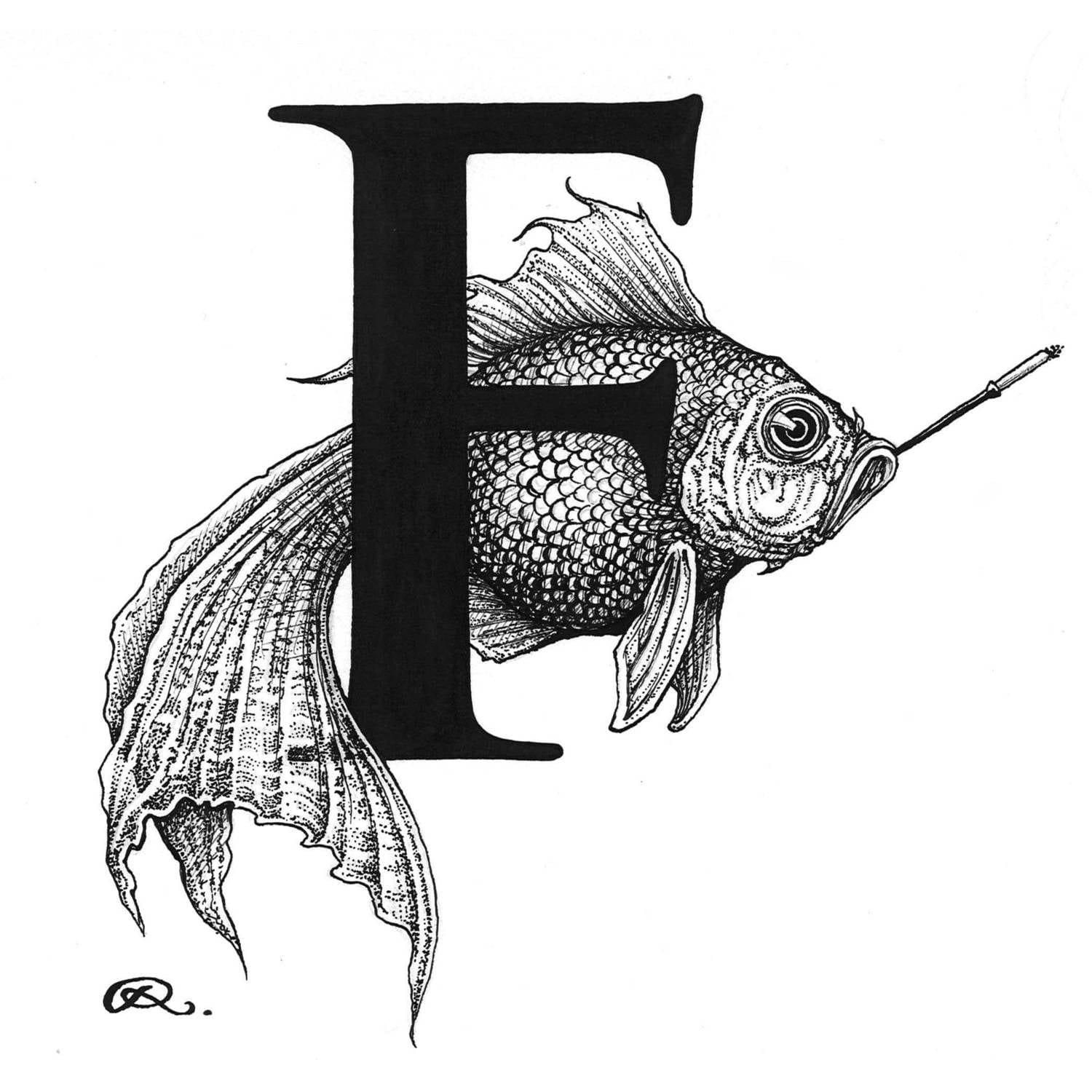 F - Fish on a Fag Break Intricate Ink Print-0