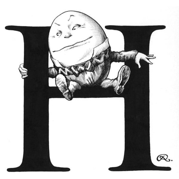 H - Humpty Holding On Intricate Ink Print-0
