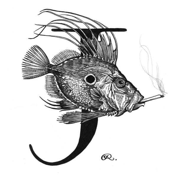J - John Dory with a Joint Intricate Ink Print-0