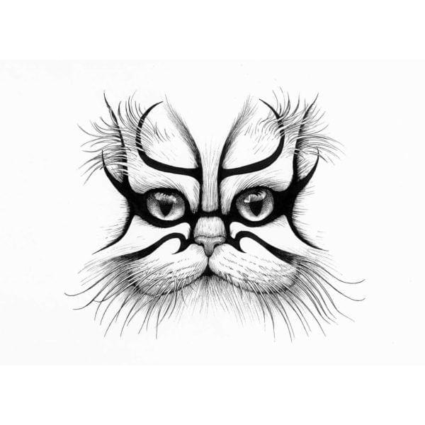 Kabouki Cat Intricate Ink Print-0
