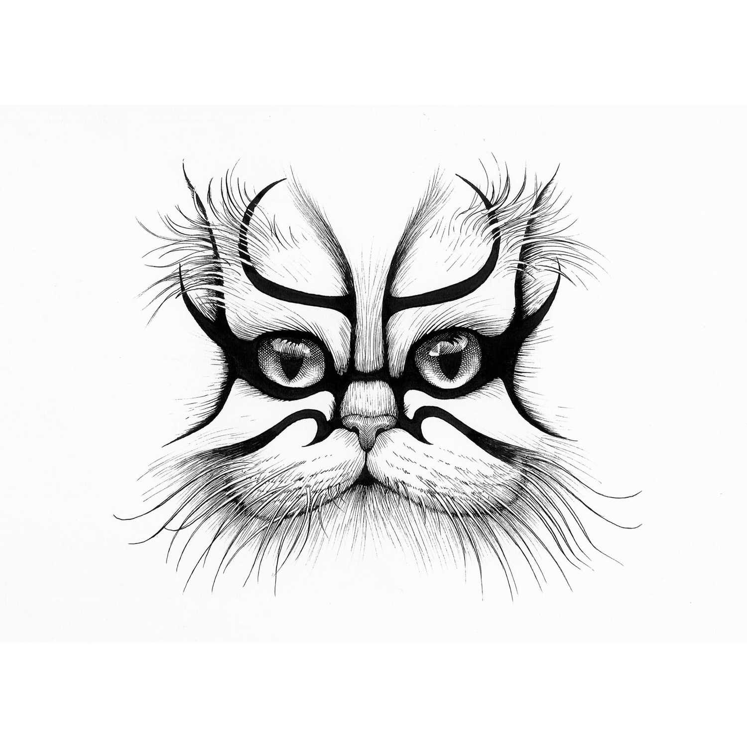 Kabouki Cat Intricate Ink Print-0