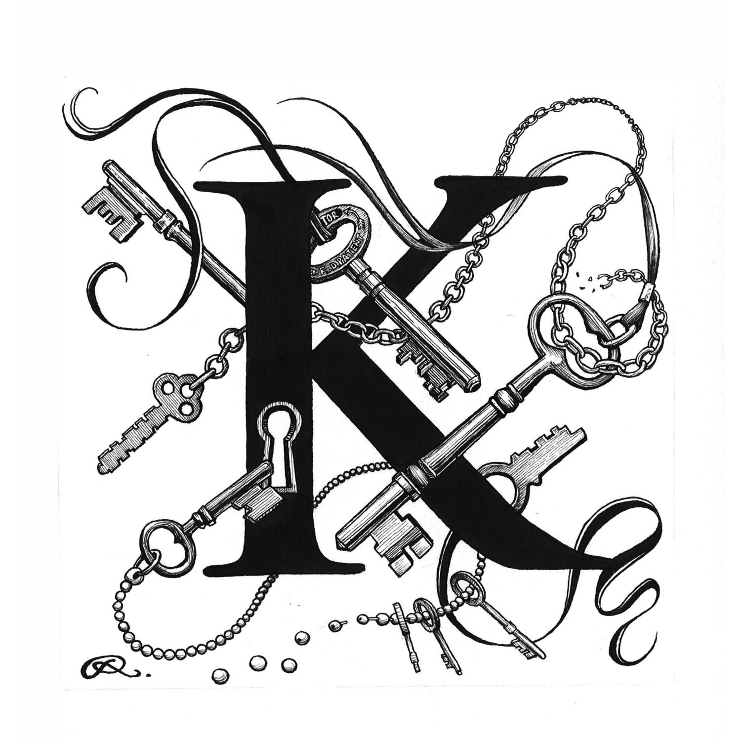 K - Keyhole Chaos Intricate Ink Print-0