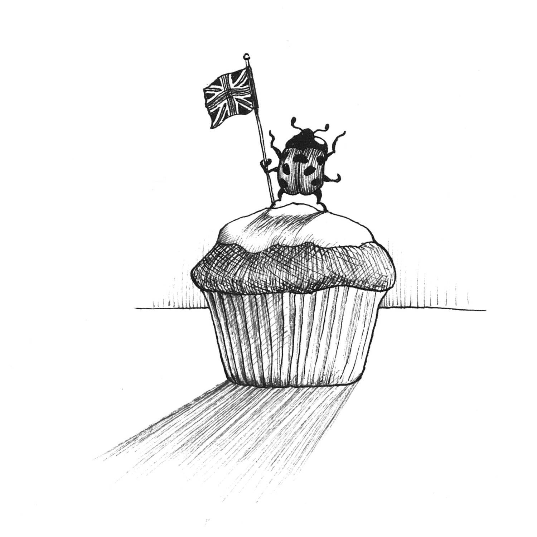 Ladybird Cupcake Intricate Ink Print-0