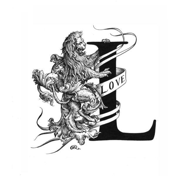 L - Lionheart Intricate Ink Print-0