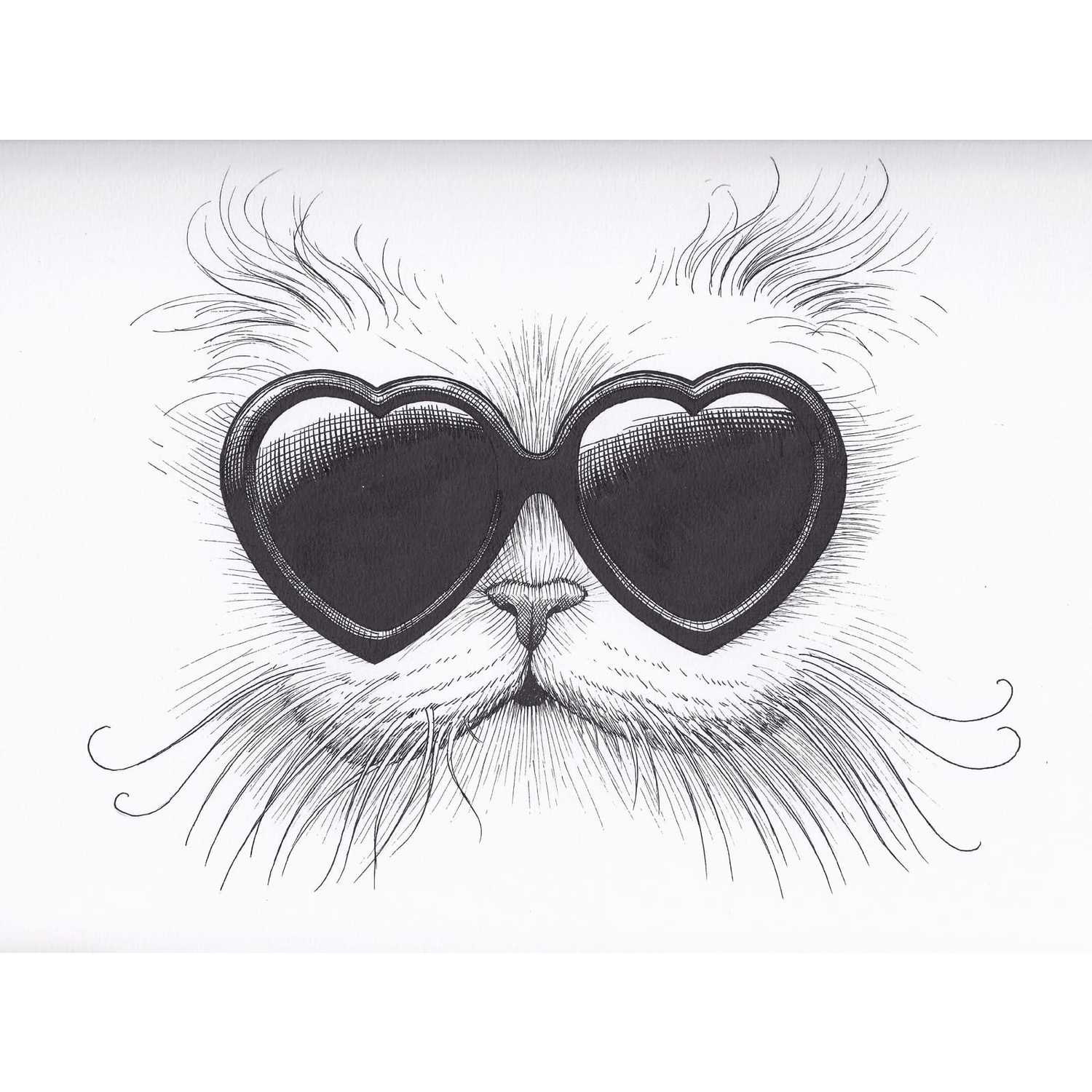 Love Cat Intricate Ink Print-0