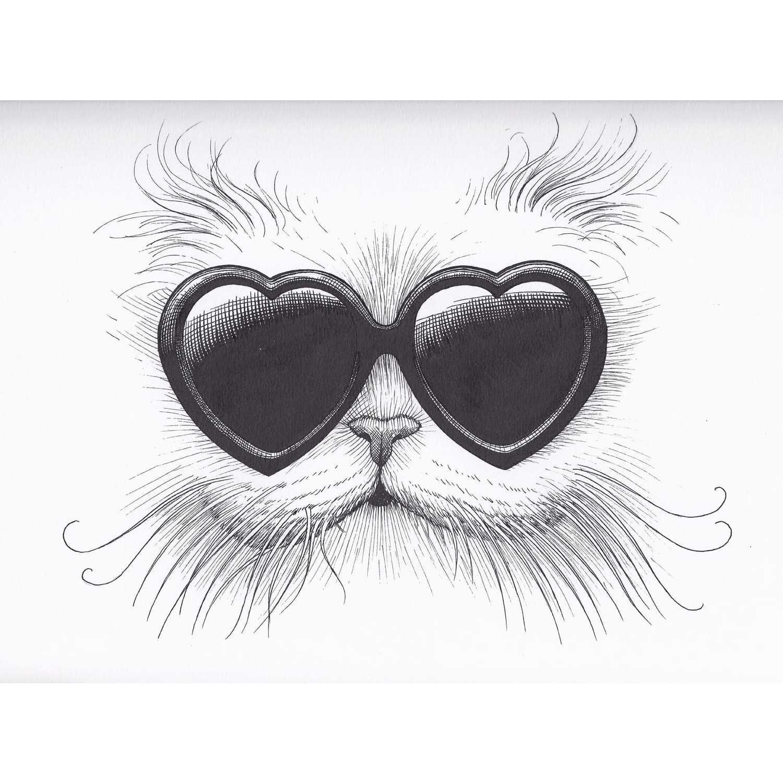Love Cat Intricate Ink Print-0