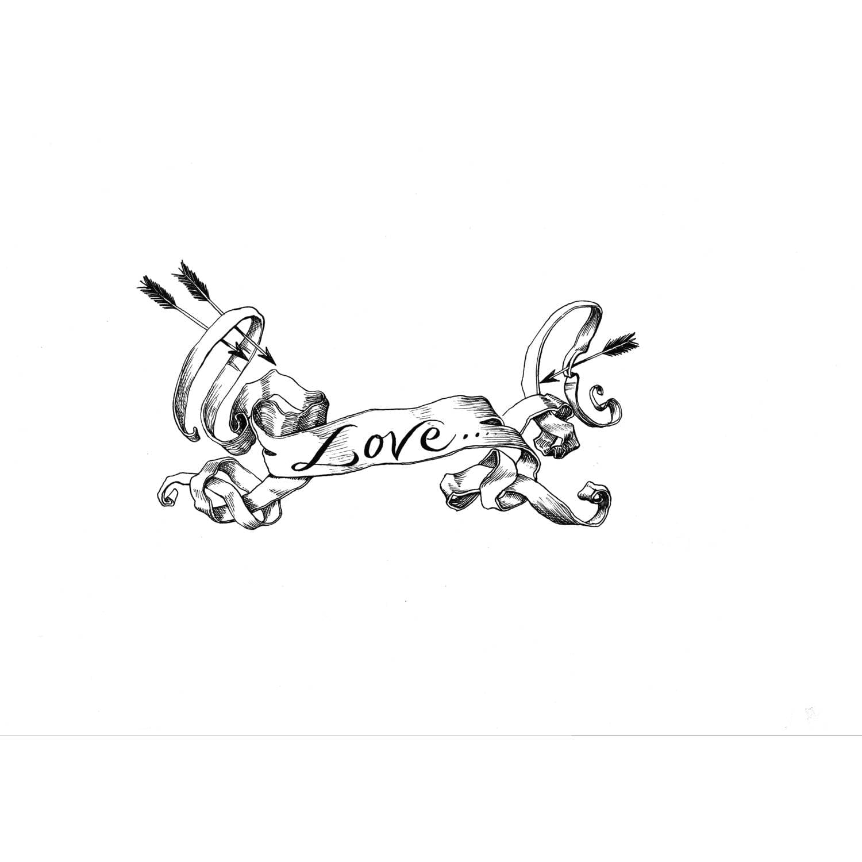 Love Scroll Intricate Ink Print-0