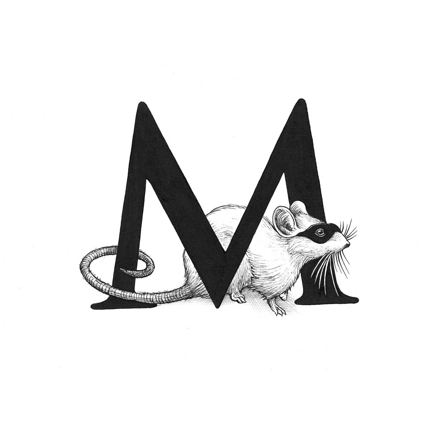 M - Masked Mousie Intricate Ink Print-0