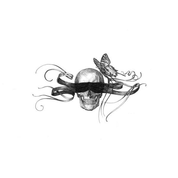 Masked Skull Intricate Ink Print-0