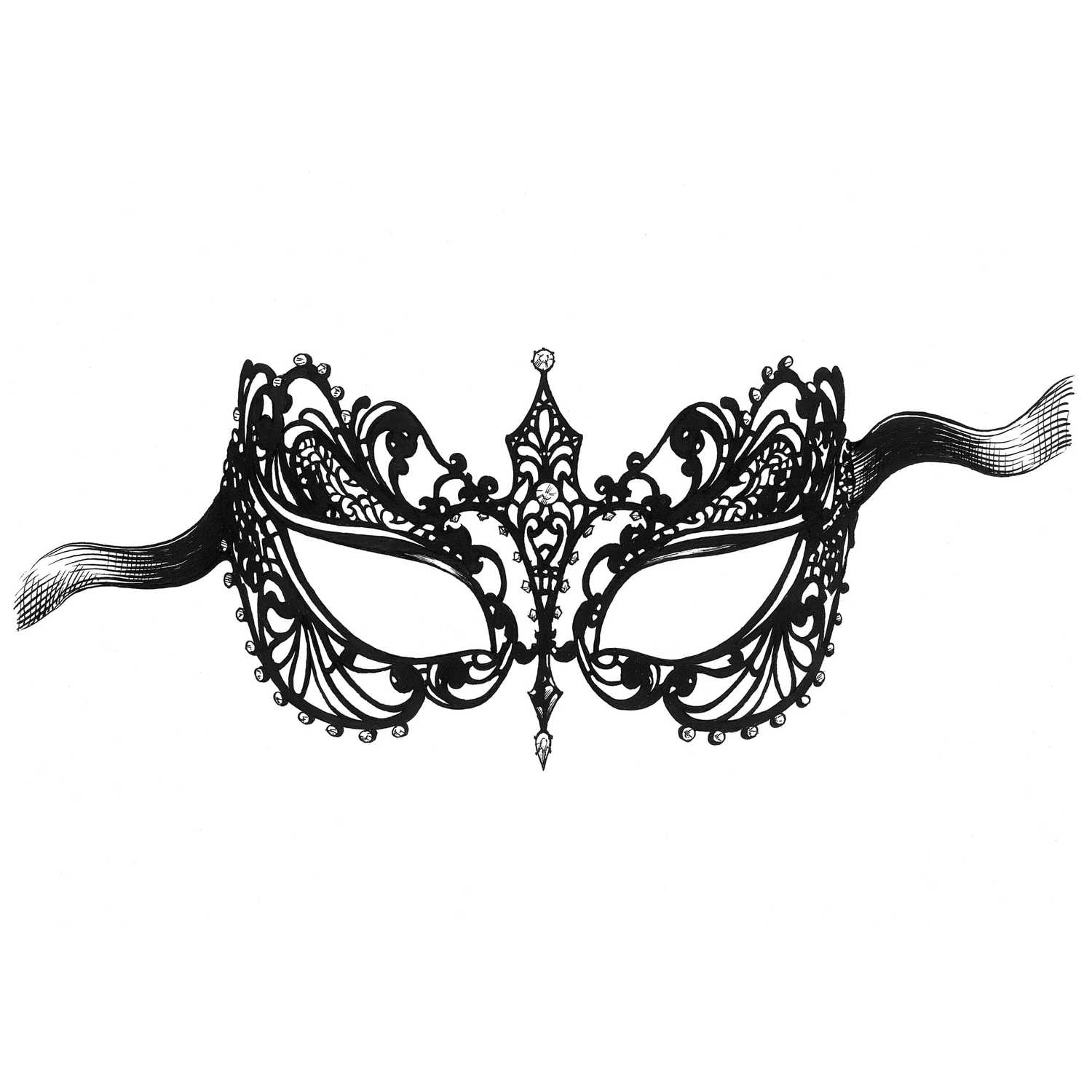 Masquerade Mask Intricate Ink Print-0
