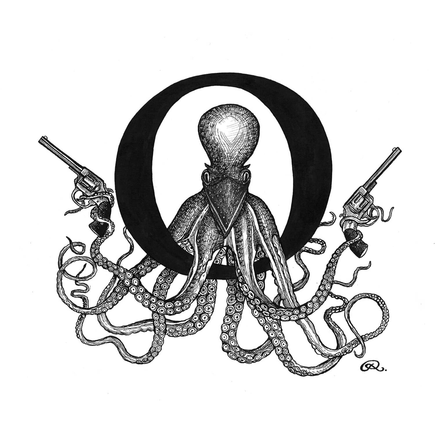 O - Outlaw Octopus Intricate Ink Print-0