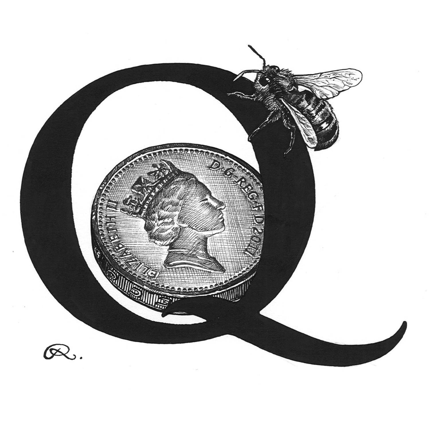 Q - Queen Bee on a Quid Intricate Ink Print-0