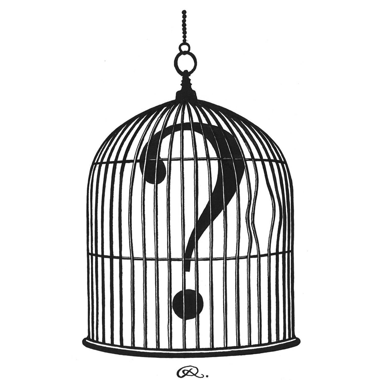 Question Mark Birdcage Intricate Ink Print-0