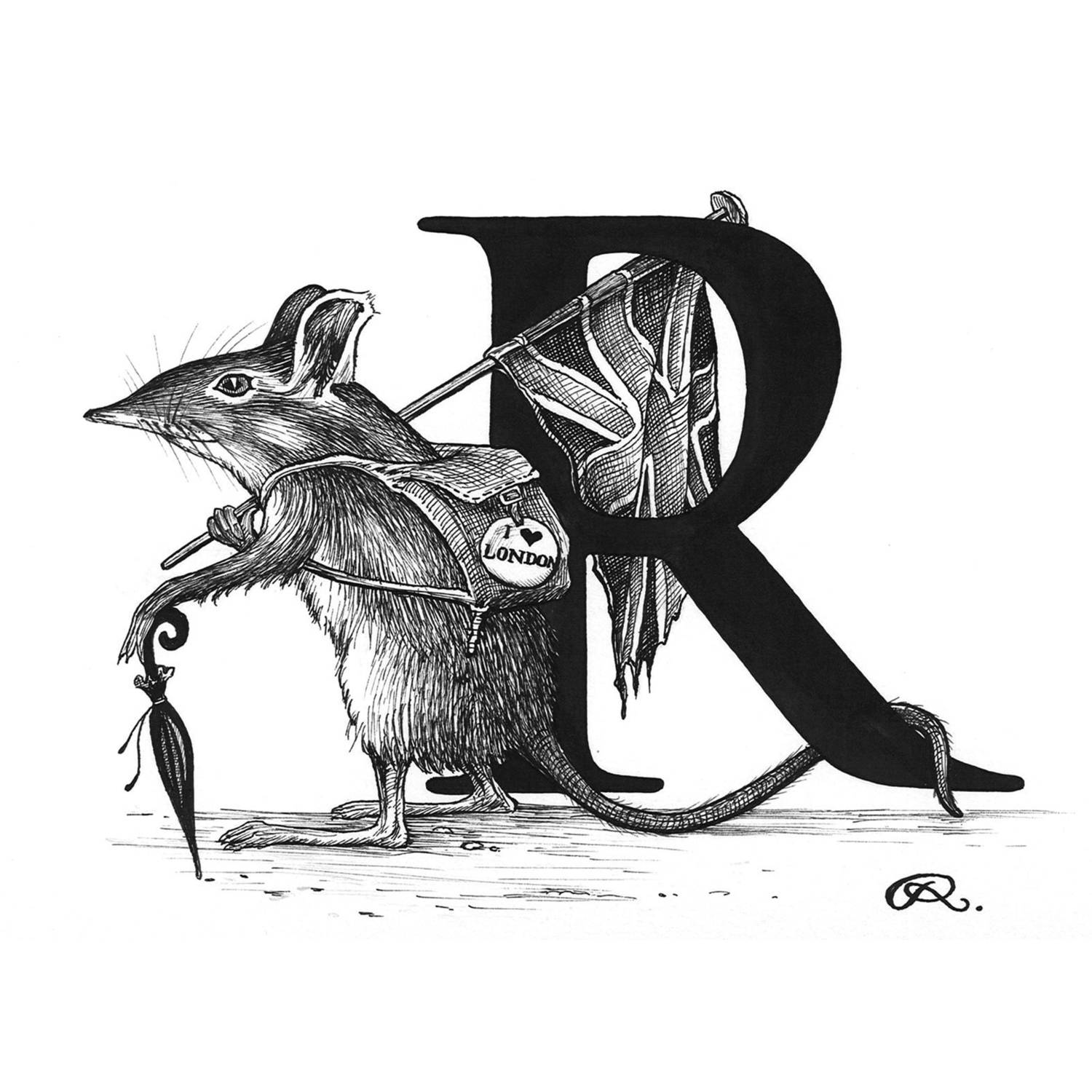 R - Rat Race Intricate Ink Print-0