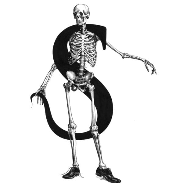 S - Skeleton with Stole and Super Shiny Shoes Intricate Ink Print-0