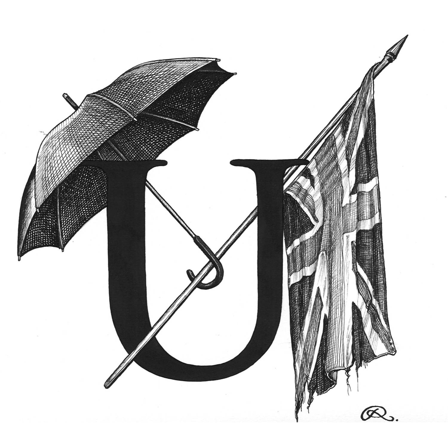 U - Union of Umbrellas Intricate Ink Print-0