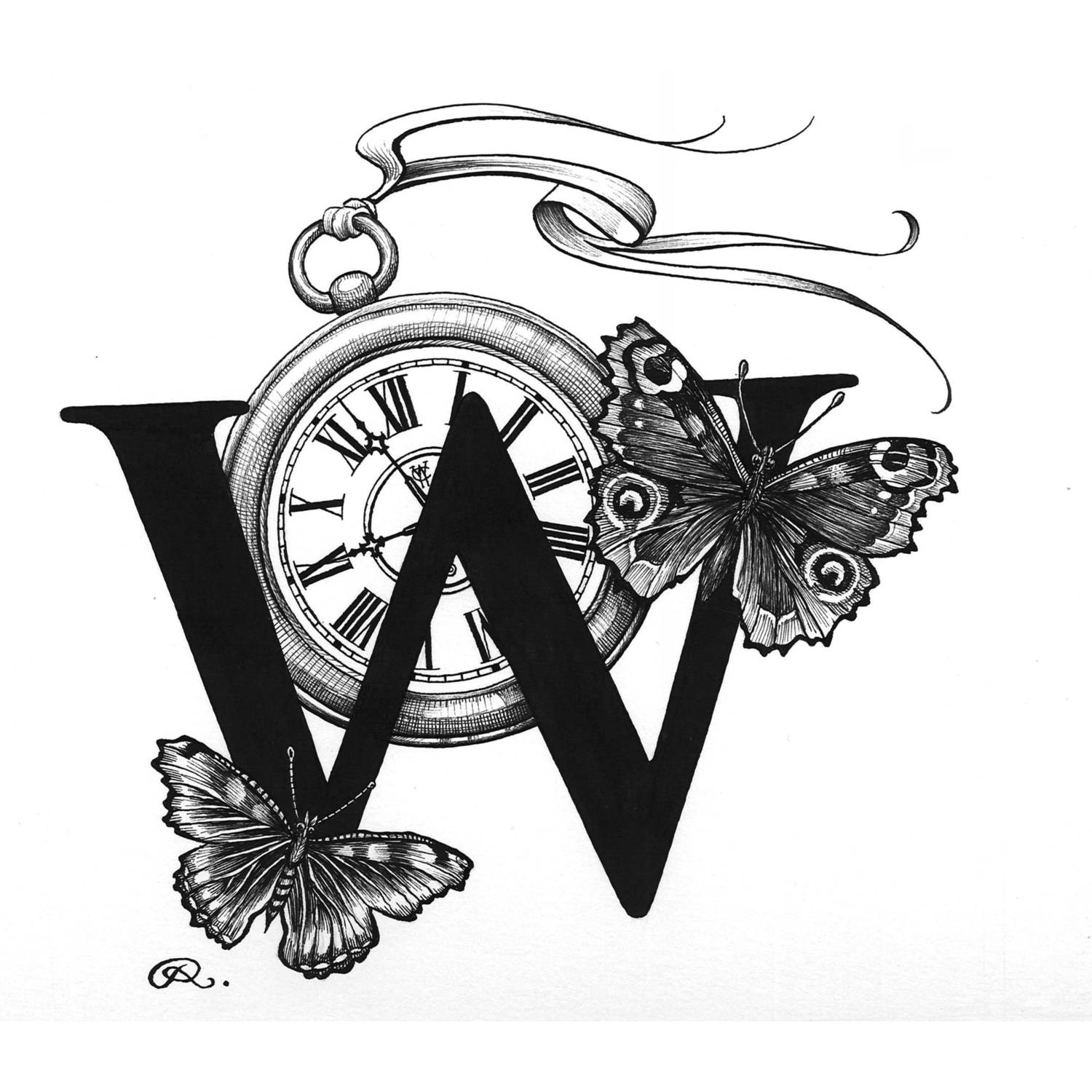 W - Winged Watch Intricate Ink Print-0
