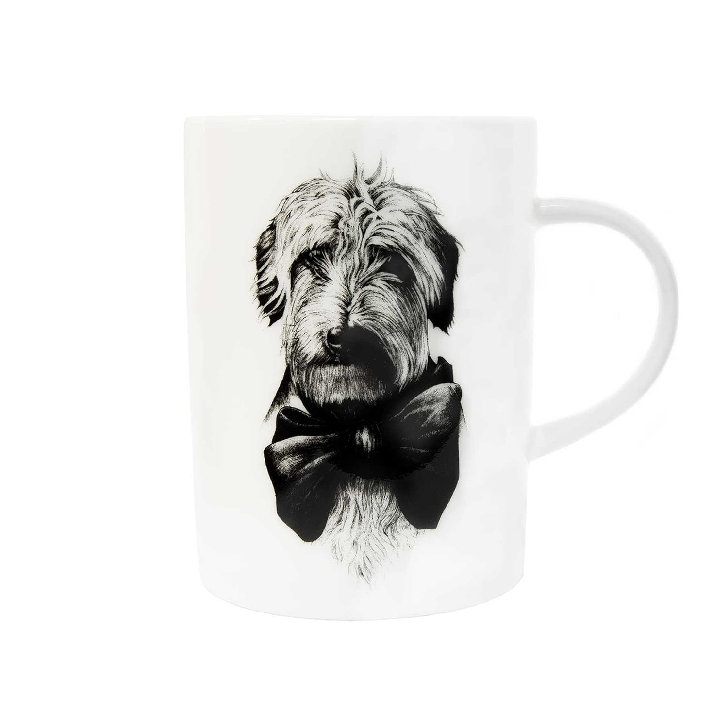 Dog with a bow ink design on white fine bone china mug