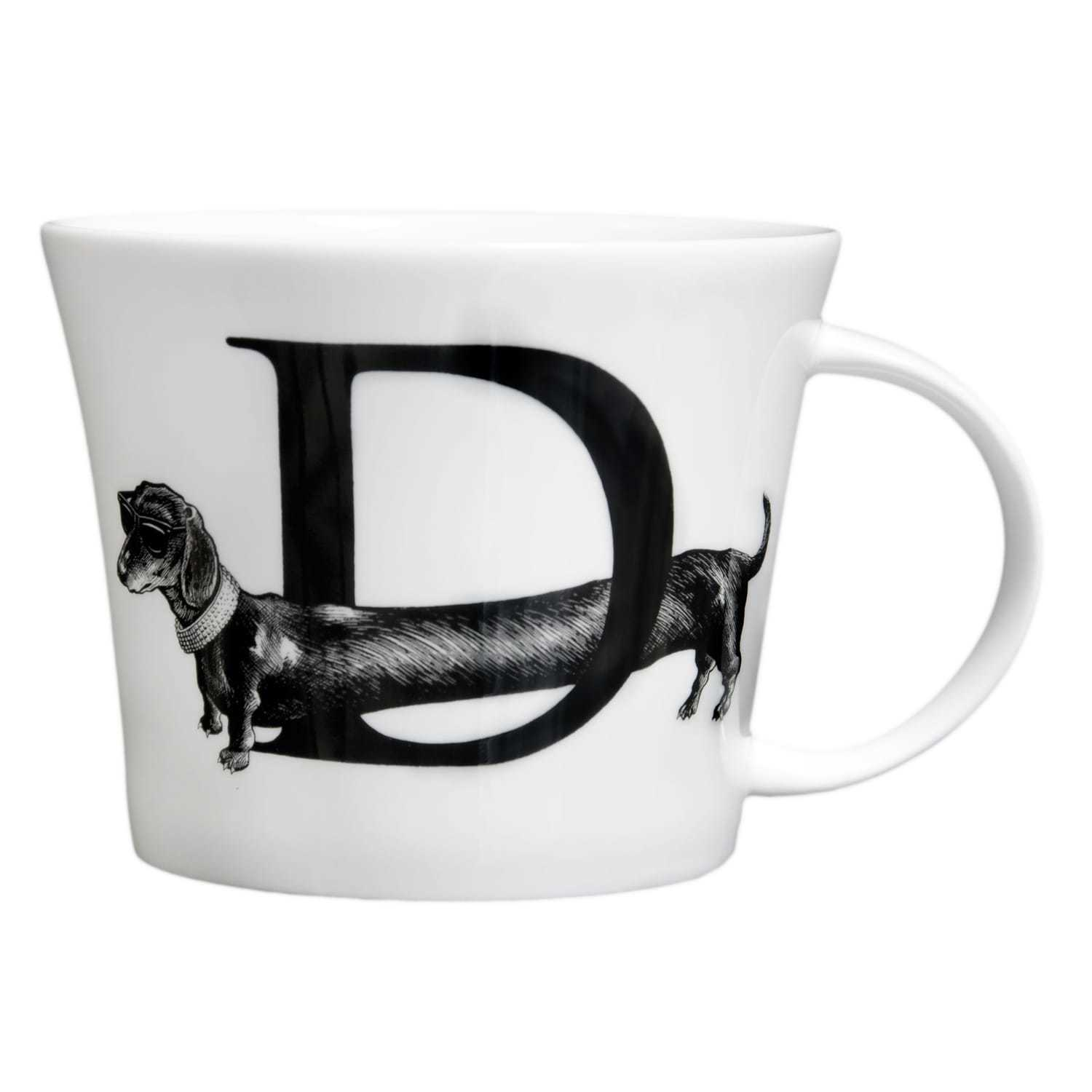 D letter with dog across it in ink design on white bone china mug