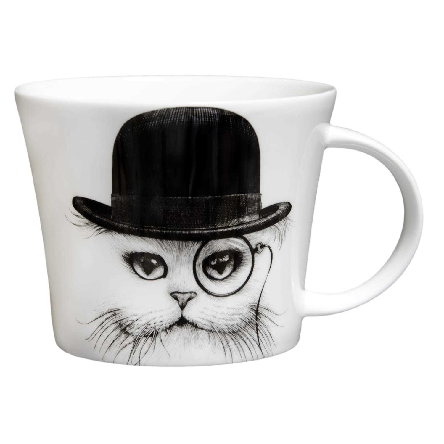 Cat wearing a top hat with a monocle on right eye in ink design on white bone china