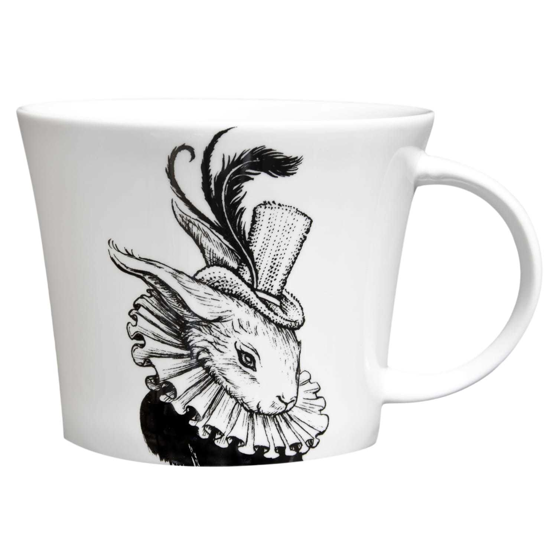 Bling Bunny wearing hat in black ink design on white bone china mug