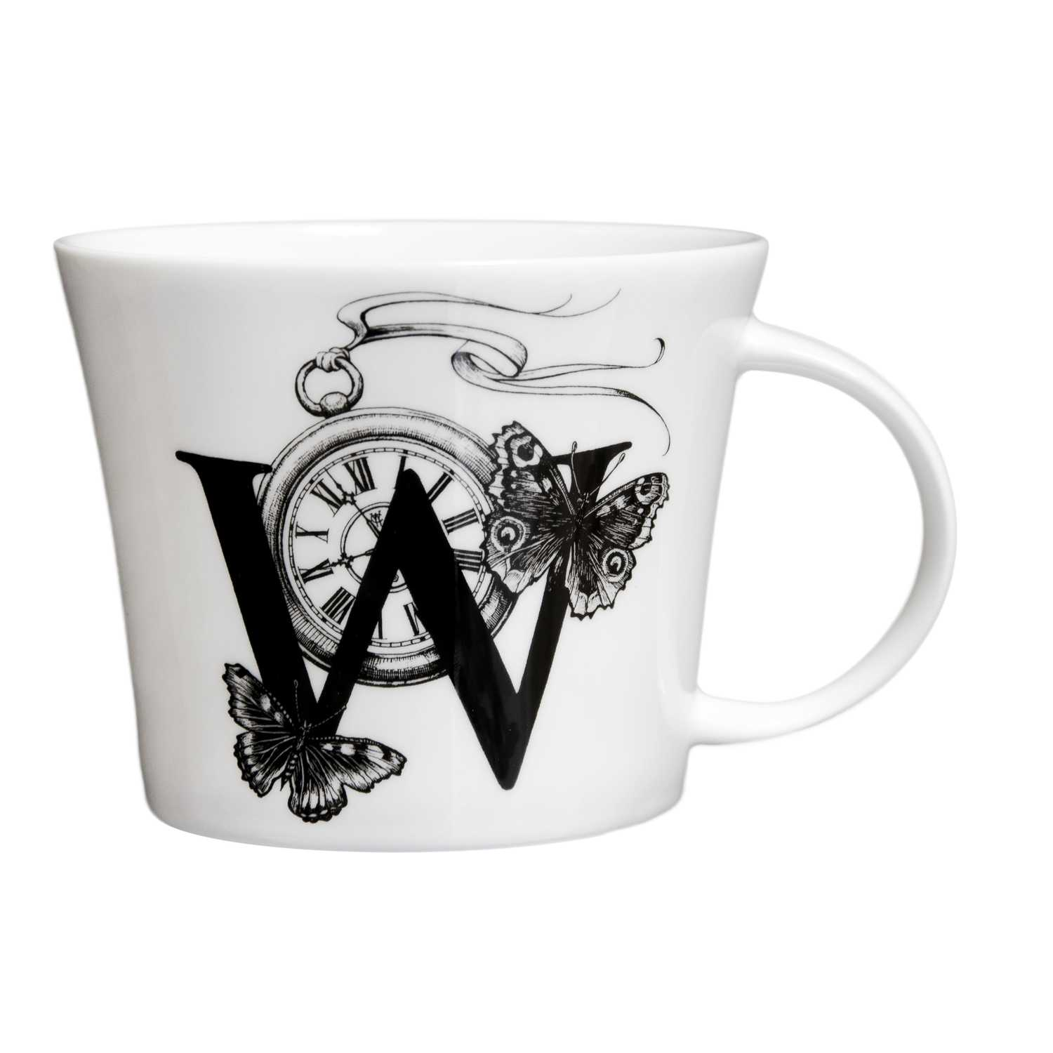 W letter with the clock and two butterflies on a sides in ink design on white bone china mug