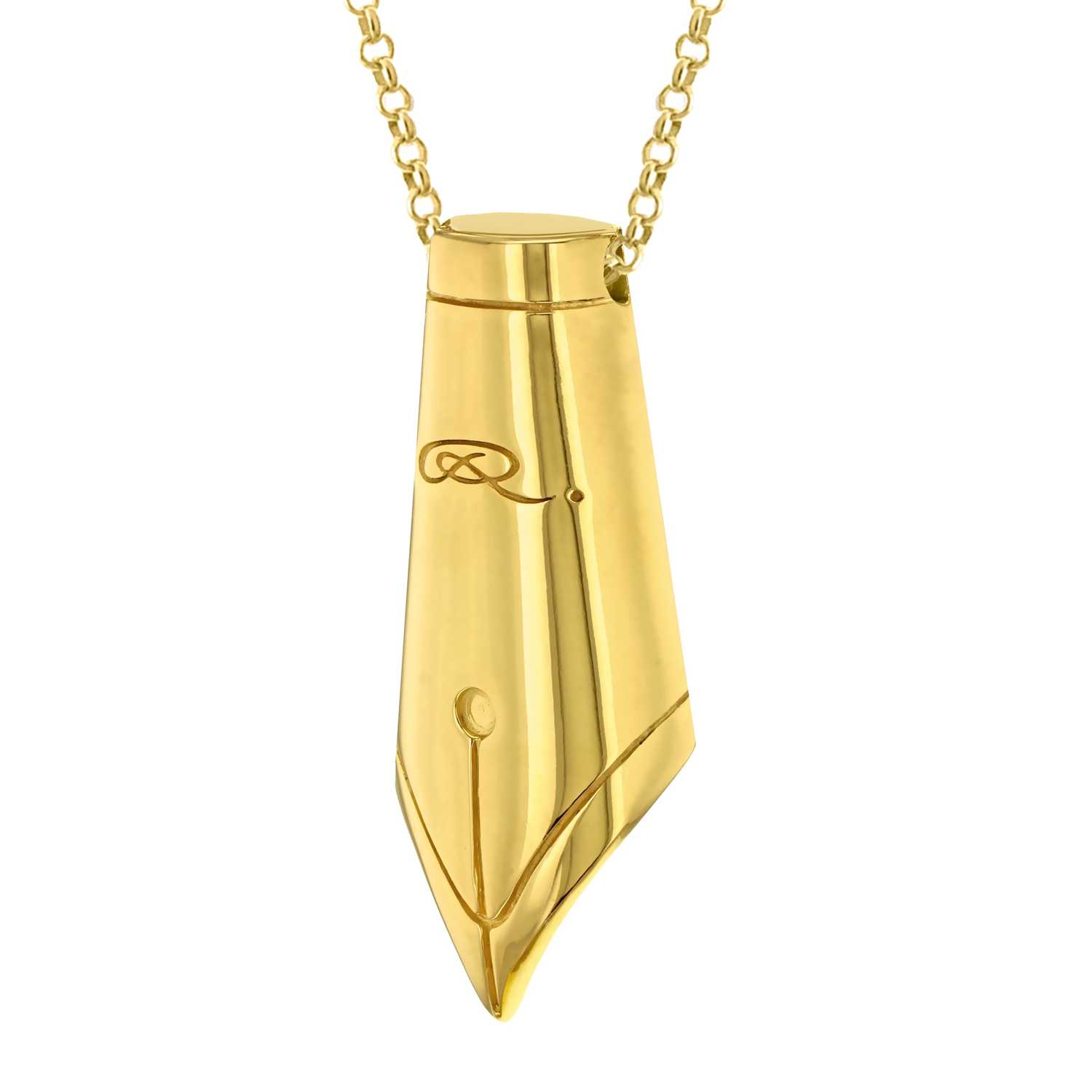 Gold Pen Nib Necklace-0