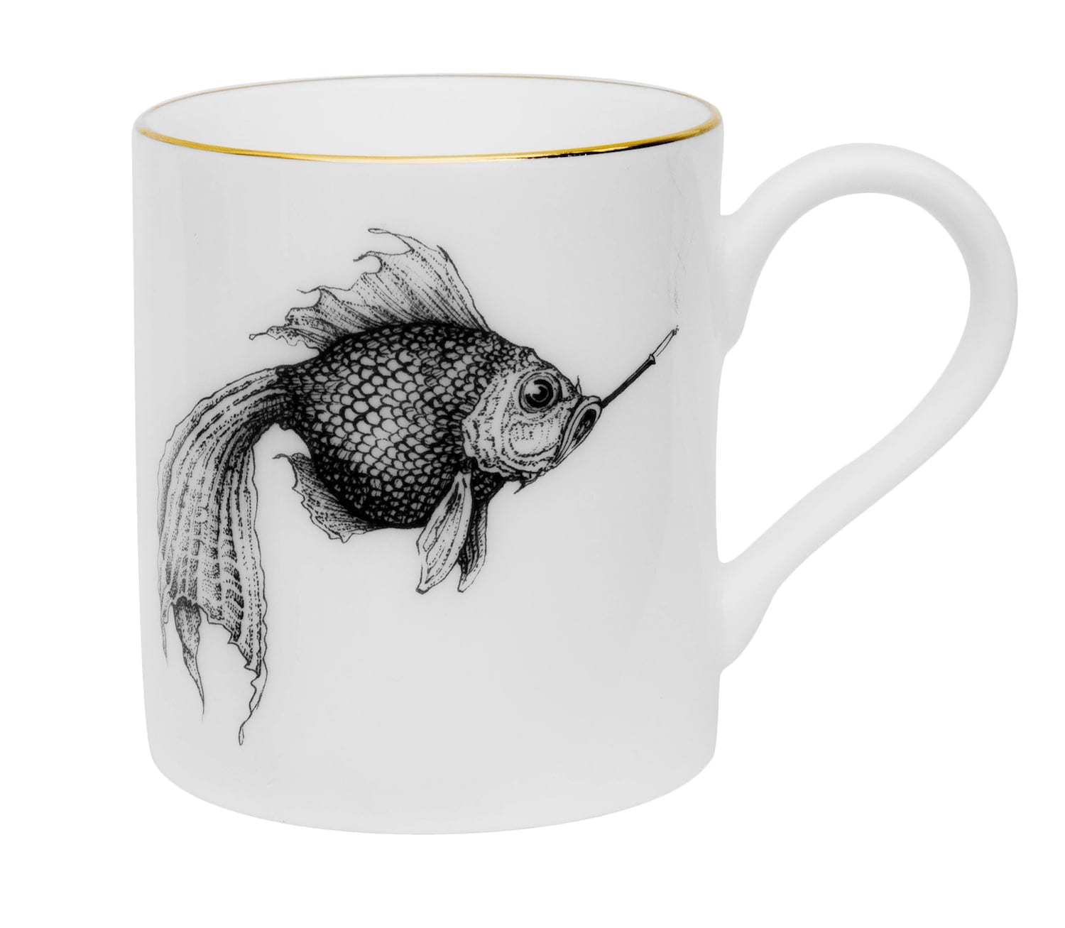 The images shows a fish smoking a cigarette. Done in black ink on a fine bone china mug